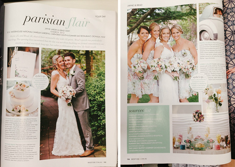 Jayne & Brad Wedding feature in Bride to Be mag Wedding Photography